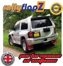 PAJERO EVOLUTION (1997-1999) 'PAJERO' RED MUDFLAPS (Ralliart Logo White R&O in Black Box)